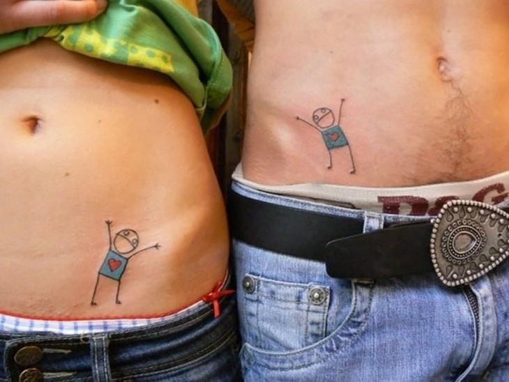 tatuajede monitos pareja rayoncitos