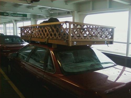 carro con porta maletas de madera