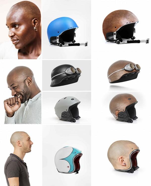 serie de diseños en forma de cabezas humanas rapadas y la inspiración