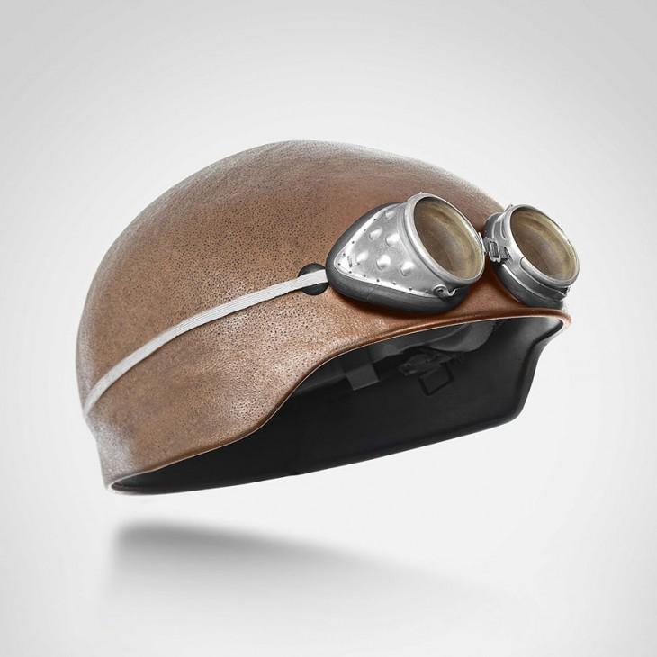 casco vintage con forma de cabeza humana