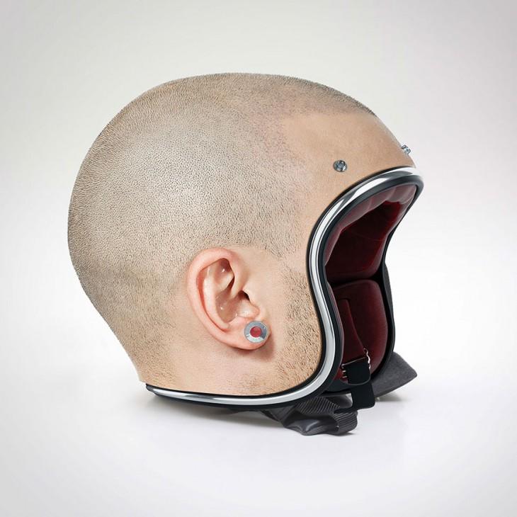 cabeza de blanco rapada para diseño de casco para motociicleta