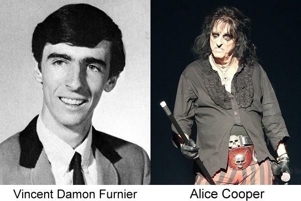 Alice Cooper en su foto actual junto a la de su anuario