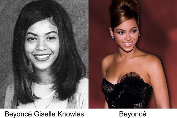 contraste de fotos de Beyoncé de anuario con una actual