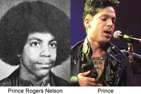 Prince en una foto actual junto a la de su anuario de la escuela