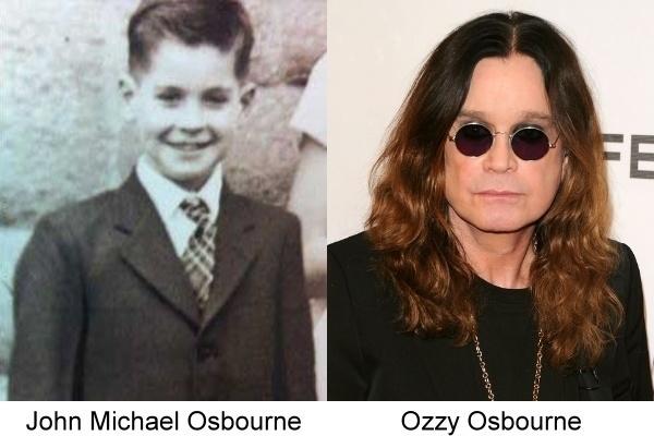 Ozzy Osbourne comparando una foto de su anuario con una actual
