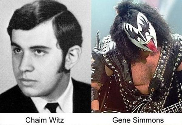 Gene Simmons en su foto de anuario con su fotografía actual