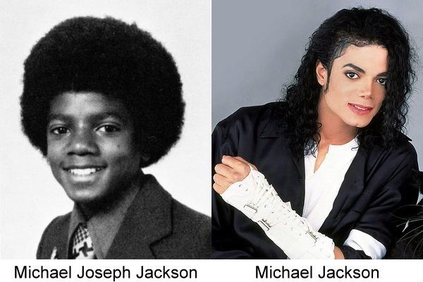 Michael Jackson en su fotografía de anuario en comparación con una más actual