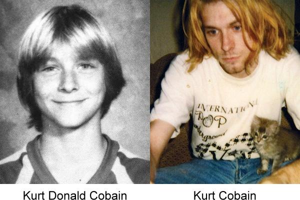 foto de Kurt Cobain junto a la de su anuario