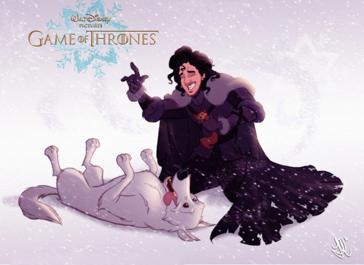 Personajes Jon Snow y Ghost Game Of Thrones dibujados por Disney