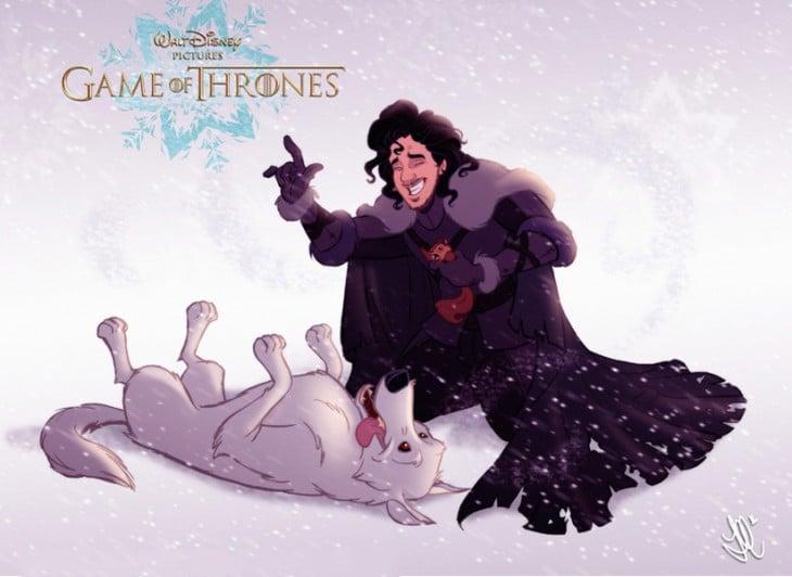 Personajes Jon Snow y Ghost Game Of Thrones dibujados por Disney