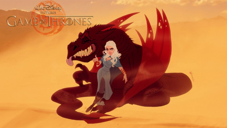 Daenerys Targaryen y Drogon de Game Of Thrones al estilo de disney