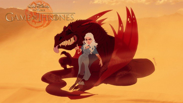 Daenerys Targaryen y Drogon de Game Of Thrones al estilo de disney