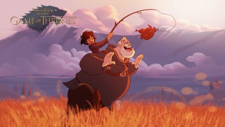 Bran Stark y Hodor personajes de Game of Thrones
