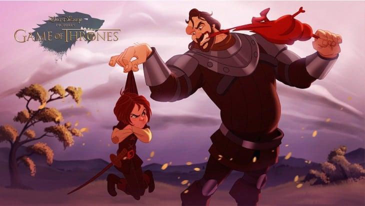Arya Stark y Sandor Clegane de game of thrones diseñados por disney