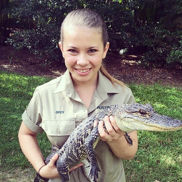 Bindi Irwin con un pequeño cocodrilo en las manos
