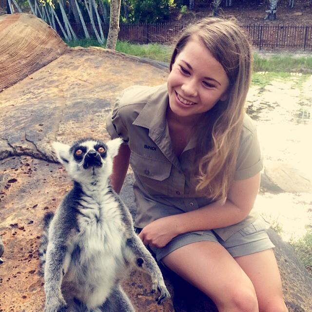Bindi Irwin hija de Steve Irwin junto a un animal