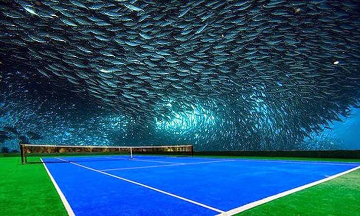 prototipo de la cancha de tenis debajo del agua en Dubai