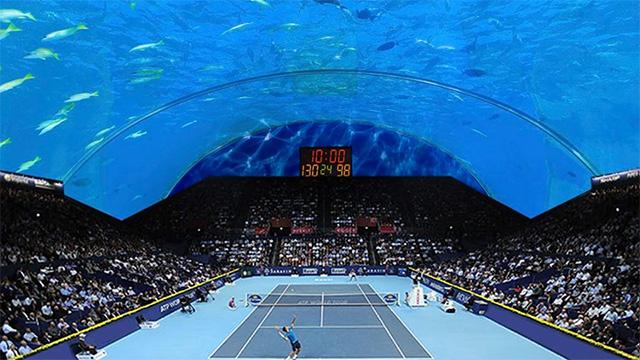 Simulación de un juego de tennis en el proyecto de una cancha debajo del mar en Dubai