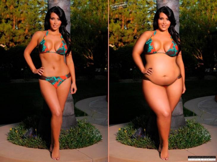 Photoshop de Kim Kardashian antes y después con sobrepeso