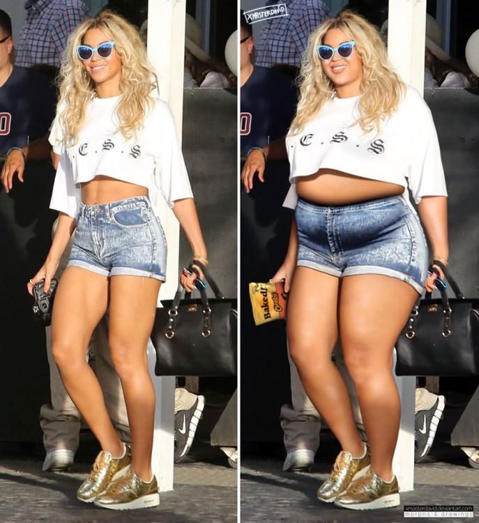 Antes y después de Beyonce con sobrepeso por David Lopera