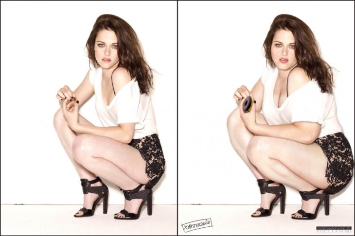 Kristen Stewart en una fotografía con un poco de sobrepeso
