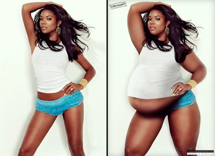 Gabrielle Monique antes y después con sobrepeso por David Lopera
