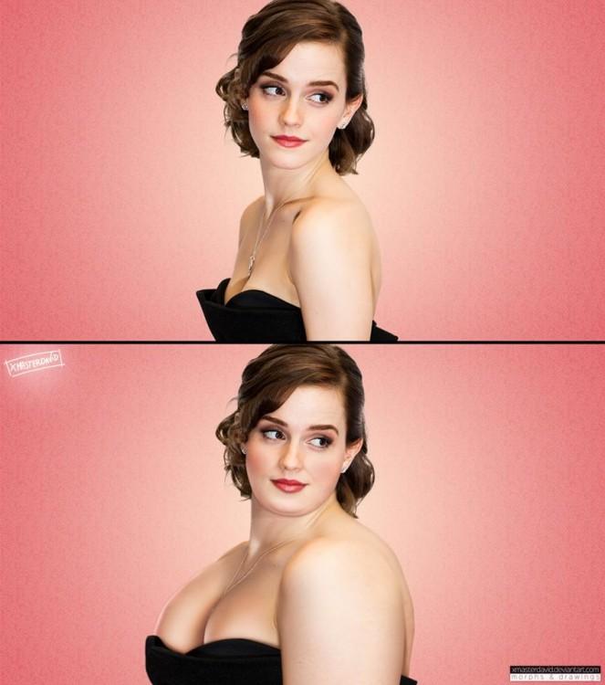 Antes y después de Emma Watson con sobrepeso