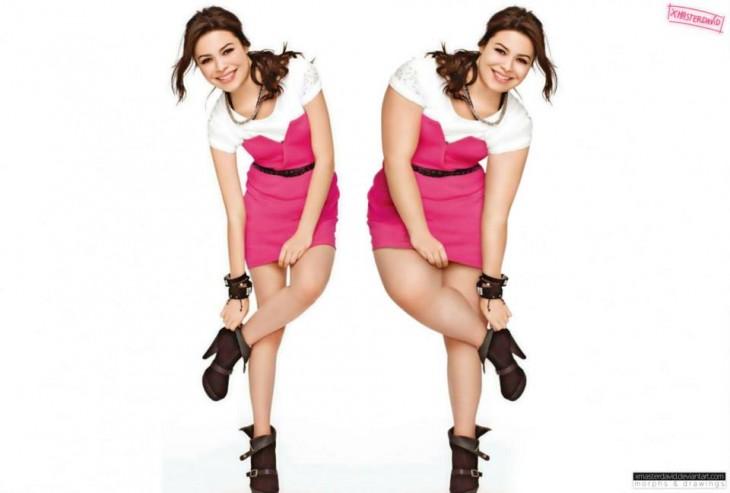 Antes y después de Miranda Cosgrove con sobrepeso con photoshop a cargo de David Lopera