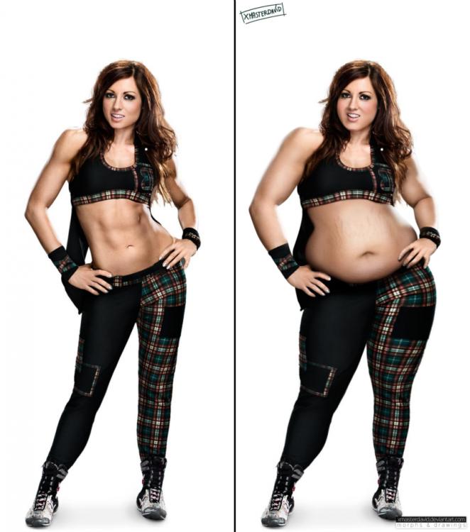 Luchadora Becky Lynch imagen photoshopeada con un poco de sobrpeso