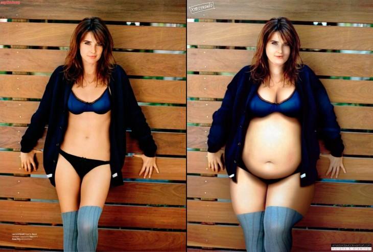 Imagen que muestra el Antes y después de Cobie Smulders con un poco de sobrepeso