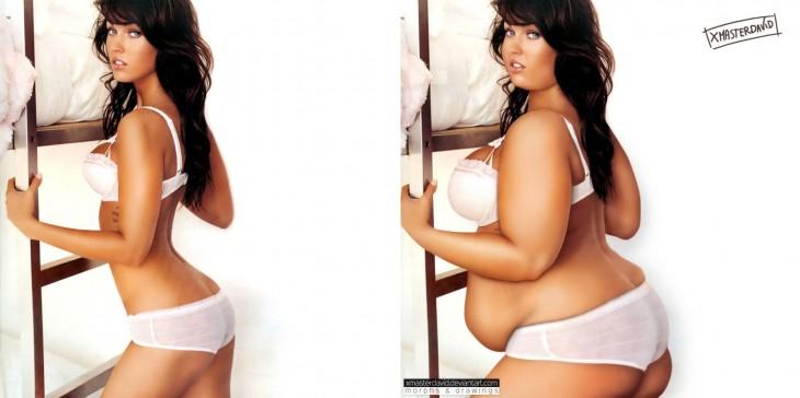 Photoshop del antes y después de Megan Fox con sobrepeso