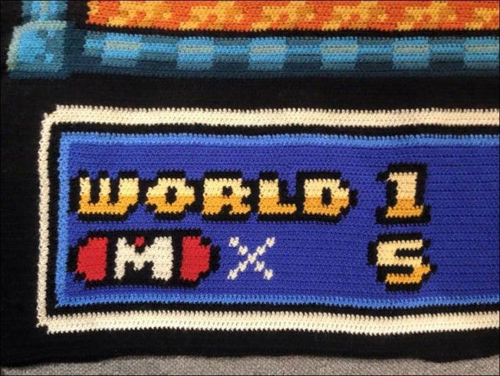 Pieza de la alfombra tejida de Mario Bross 3