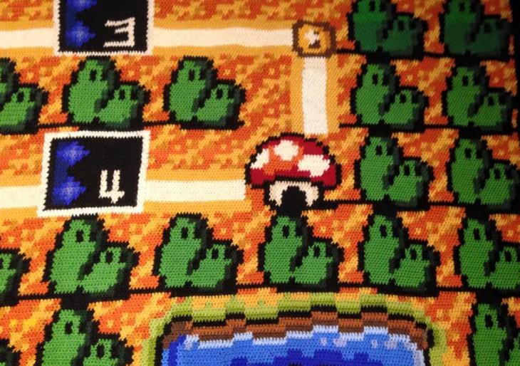 Plano de Mario Bross 3 en una alfombra tejida