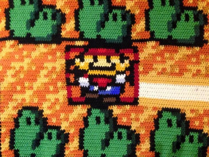 Alfombra tejida con el plano de Mario Bross 3