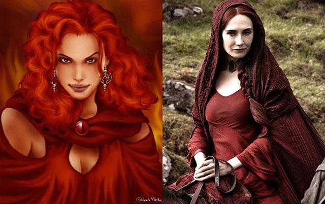 """Melisandre conocida como """"La mujer de rojo"""" en su personaje de libro con el de la serie"""