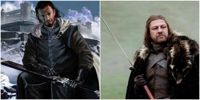 Ned Stark en su personaje con la serie y con su libro