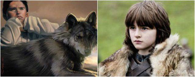 Bran Stark en contraste con su personaje de libro con el de la serie