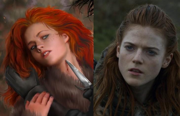 imagen del personaje Ygritte tanto en el libro como en sus serie