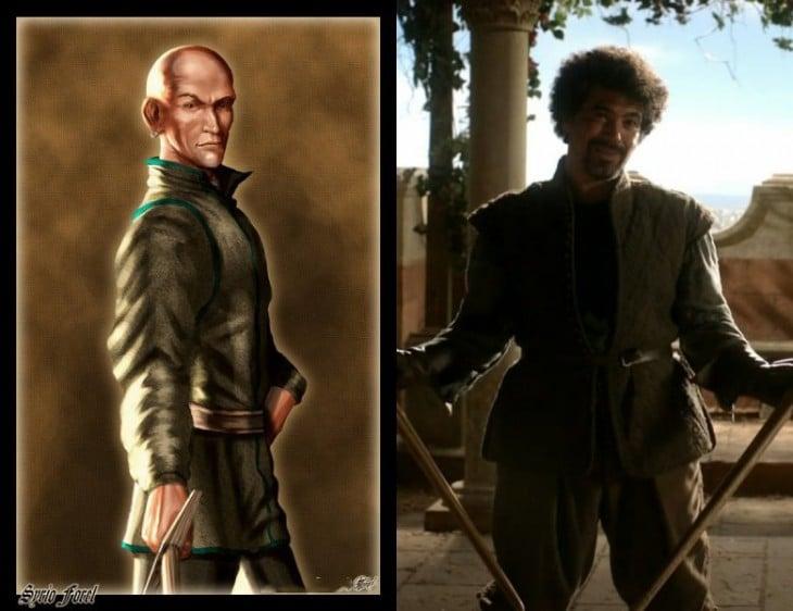 Syrio Forel personaje del libro con el personaje de la serie