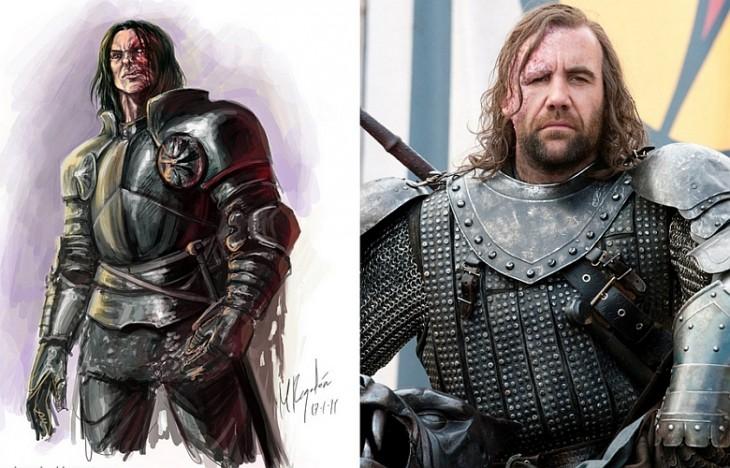 """Sandor Clegane, aka """"The Hound"""" personaje del libro en comparación con el de la serie"""