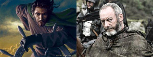 Ser Davos Seaworth comparación de sus personajes en libro con el de la serie