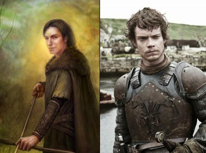 Theon Greyjoy en su personaje de libro con su personaje de la serie
