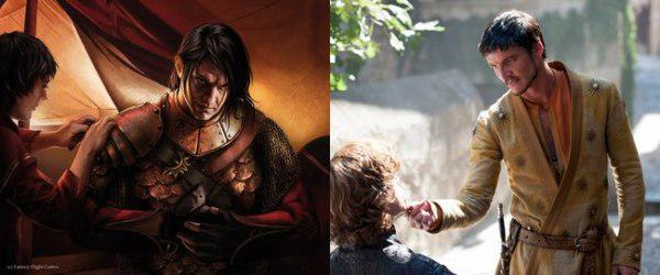 Oberyn Martell en su personaje de libro con el de la serie