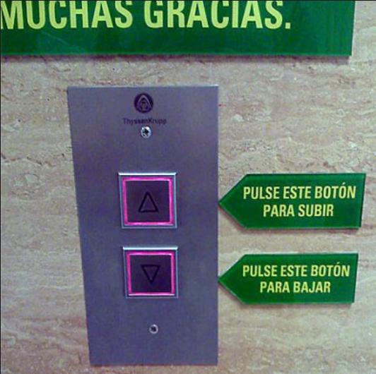 Indicaciones en algunas señales de un elevador que solo redunda en lo mismo