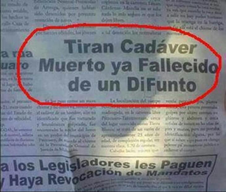 Nota de un periódico que redunda en lo mismo con un cadáver