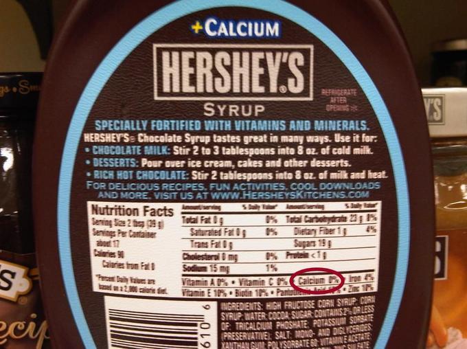 Datos que mienten en el empaque de una botella de chocolate Hershey´s