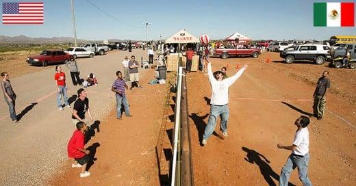 Un partido de voleybol de frontera a frontera