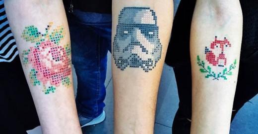 Tatuajes Inspirados en punto e cruz, al mero estilo abuelita