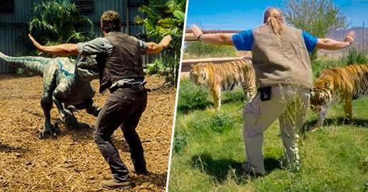 Con el estreno de la nueva saga de Parque Jurásico, cuidadores de zoológico recrean esta famosa escena