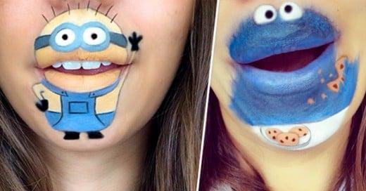 No cabe duda que a esta chica le salen excelentes las ilustraciones en sus labios